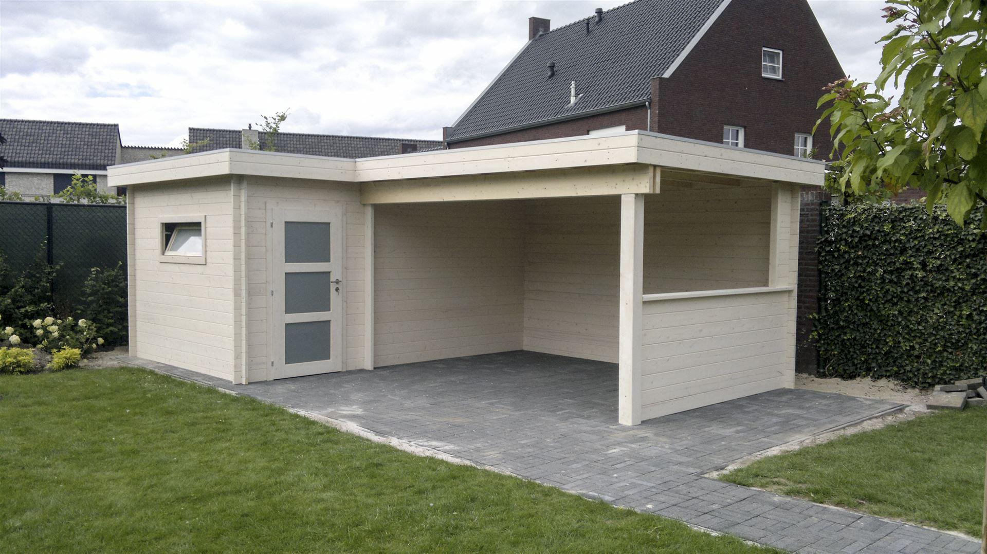Overkapping Met Schuur : Blokwood het resultaat tuinhuis cottage terrasoverkapping